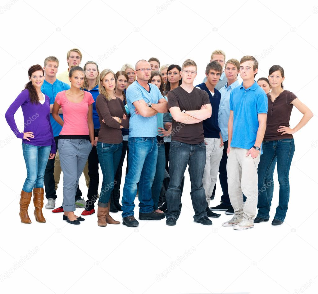 Portrait of men and women standing together against white background — Stock Photo #3289930