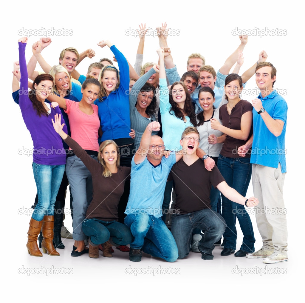 Group of successful casual standing  with hands raised  Stock Photo #3289942