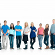 Individuals standing together looking serious - Stock Photo