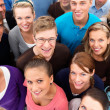 Above view of standing together smiling - Stock Photo
