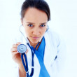 Medical - Female doctor ready to check up on you - Stock Photo