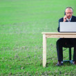 Royalty-Free Stock Photo: Businessman using laptop in field with copyspace