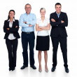 Royalty-Free Stock Photo: Modern friendly business team standing on white