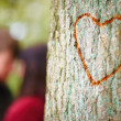 Royalty-Free Stock Photo: Love - Concept of love carved in tree - copyspace