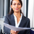 Business situations - Businesswoman giving contract - Stock Photo