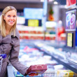 Royalty-Free Stock Photo: Portrait of smiling young woman shopping in a supermarket