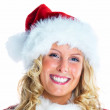Royalty-Free Stock Photo: Female blond Santa isolated on white background