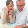 Ambitious older couple planing their travel - Stock Photo