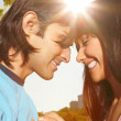 Romance - Close up of a couple in love - Stock Photo