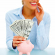 Female banking dollar bills - financial concept - Stock Photo