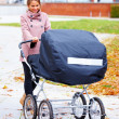 Young pretty lady walking baby around in pram - Stock Photo