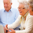 Royalty-Free Stock Photo: Group of aged using a laptop
