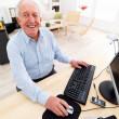 Old man working at home on computer - Stock Photo