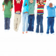 Royalty-Free Stock Photo: Group of six kids standing in a row and jumping