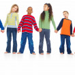 Portrait of group of young children holding hands together - Stock Photo