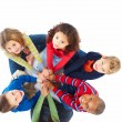 Portrait of group of young kids playing together - Stock Photo
