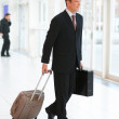 Royalty-Free Stock Photo: Smiling handsome business man holding a suitcase and bag