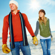 Royalty-Free Stock Photo: Happy couple holding hands out on the snow