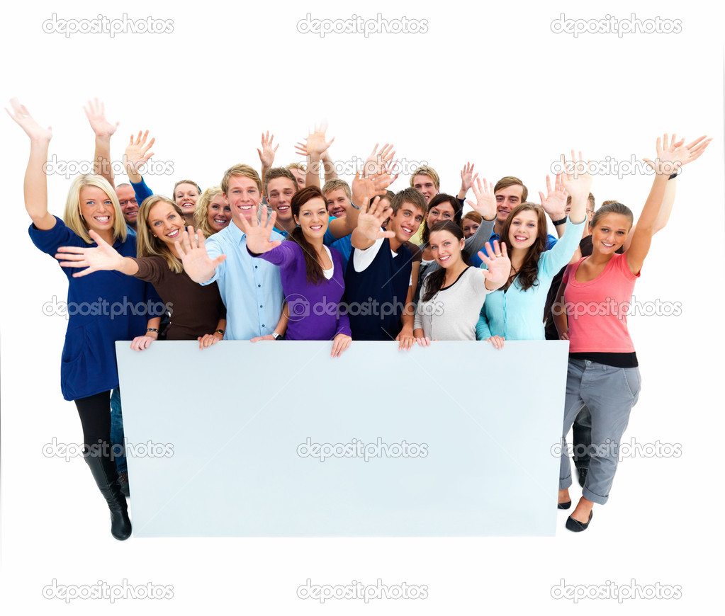 Portrait of happy men and women standing with a billboard against white background — Stock Photo #3290006