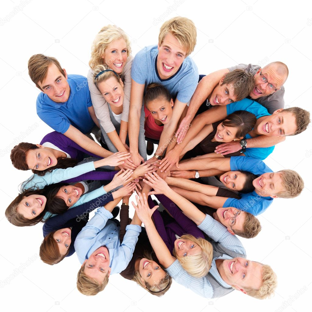 Top view portrait of happy men and women standing with hands together against white background — Stock Photo #3290151