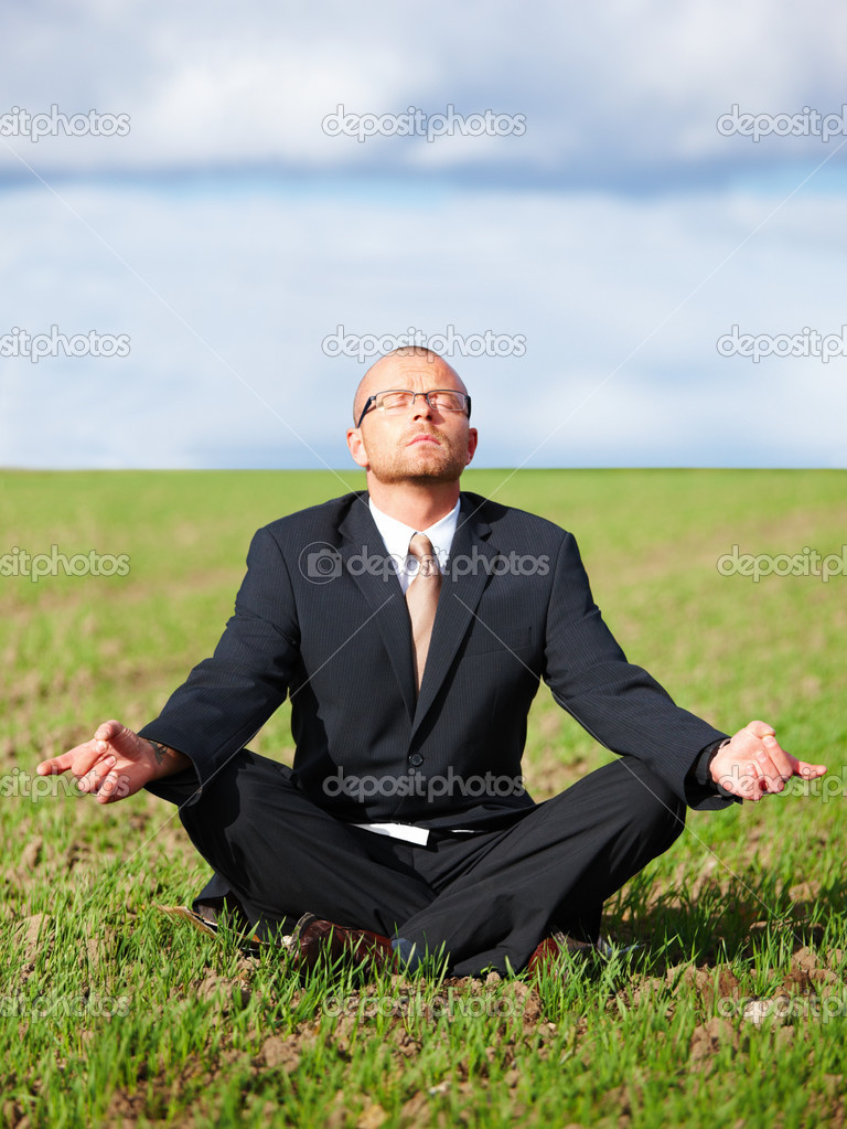 Zen meditation - Businessman doing zen  — Stock Photo #3290595
