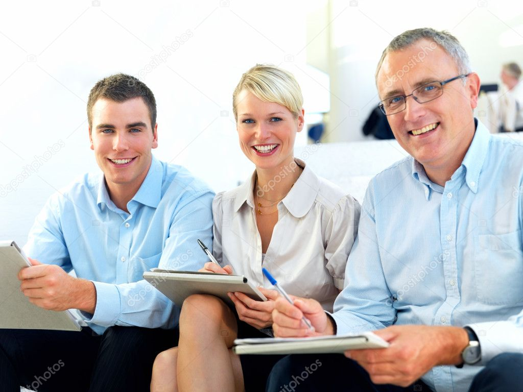 Freindly modern business sitting together  Stock Photo #3291000