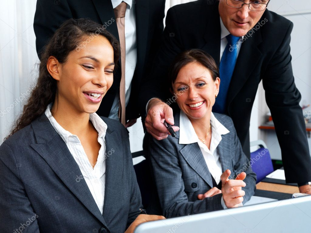 Closeup of business men and women working together in office — Stock Photo #3291848