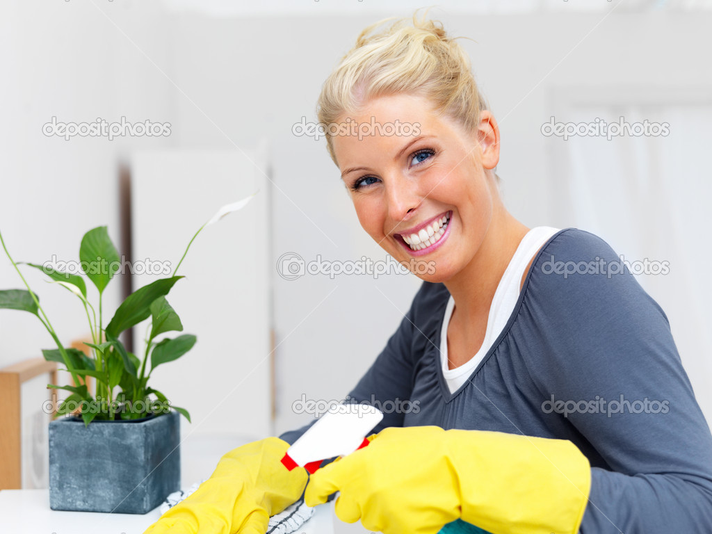 Portrait of an attractive blond woman cleaning your house — Stock Photo #3292234