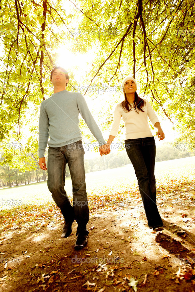 Young couple  walking together in Autumn  Stock Photo #3292679