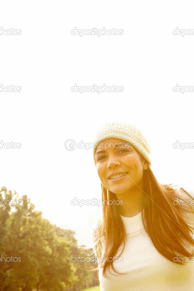 Young woman  smiling under copyspace  Stock Photo #3292687
