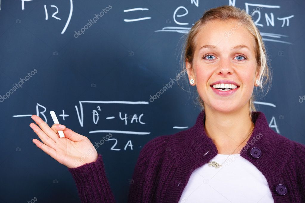 Education - Joyful female teacher teaching  algebra — Stock Photo #3293017