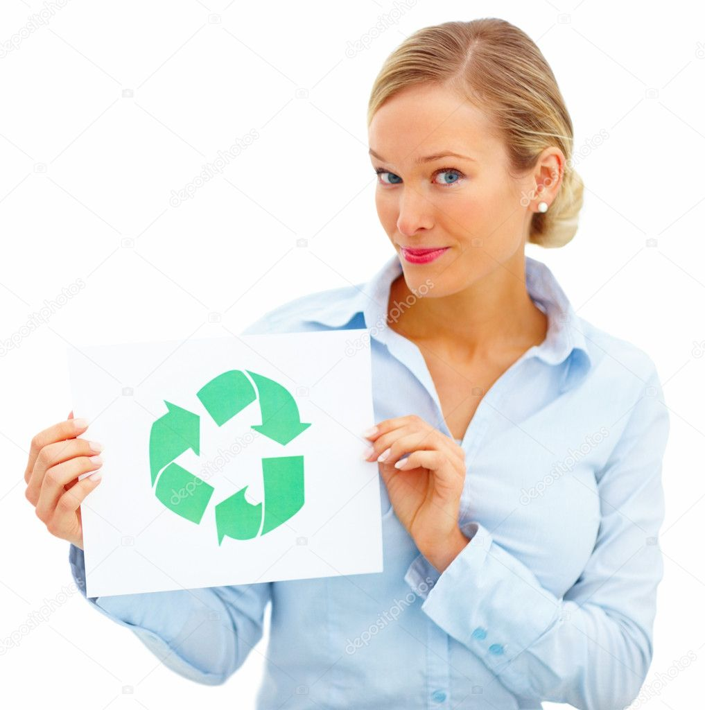 Smart young businesswoman holding a recycle symbol over white background — Stock Photo #3294431