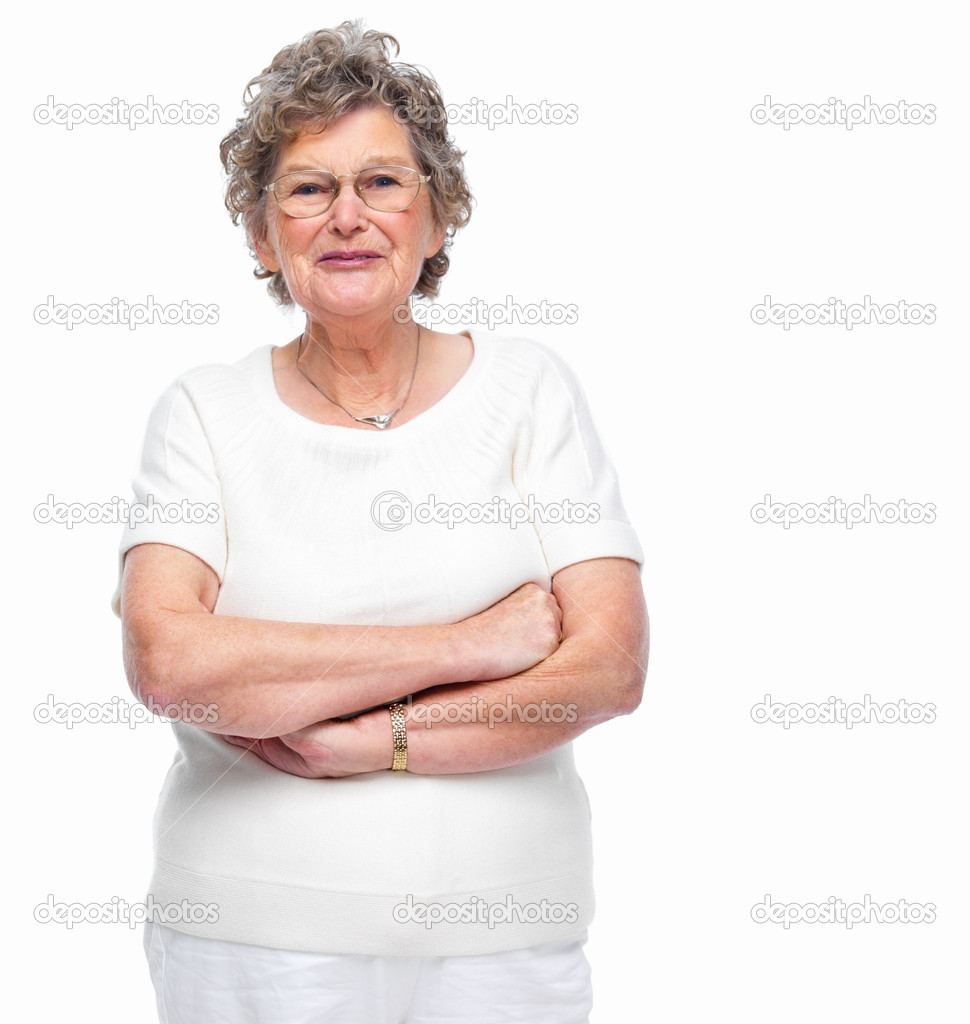 Happy senior woman standing over white background — Stock Photo #3295672