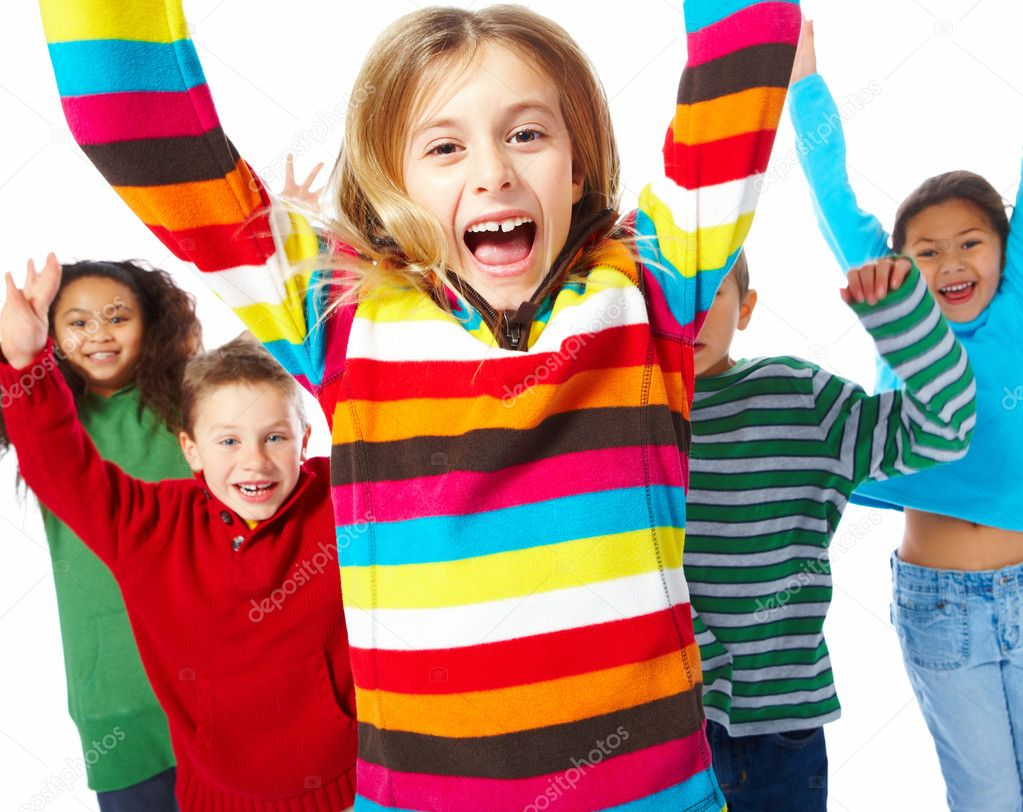 Portrait of group of excited children jumping with hands raised on white background — Stock Photo #3296903