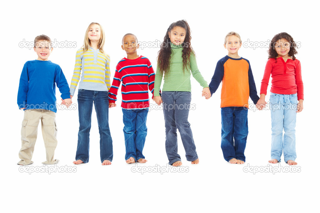 Portrait of group of young children holding hands together over white background — Stock Photo #3297126
