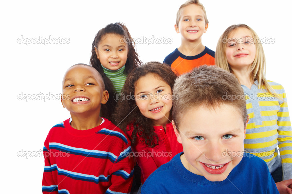Closeup portrait of group of six children together over white background — Stock Photo #3297166