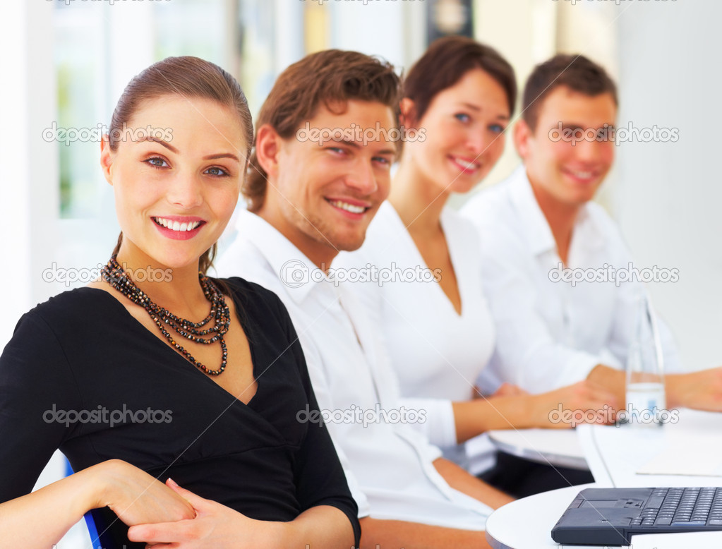 Portrait of happy business during seminar — Stock Photo #3299070
