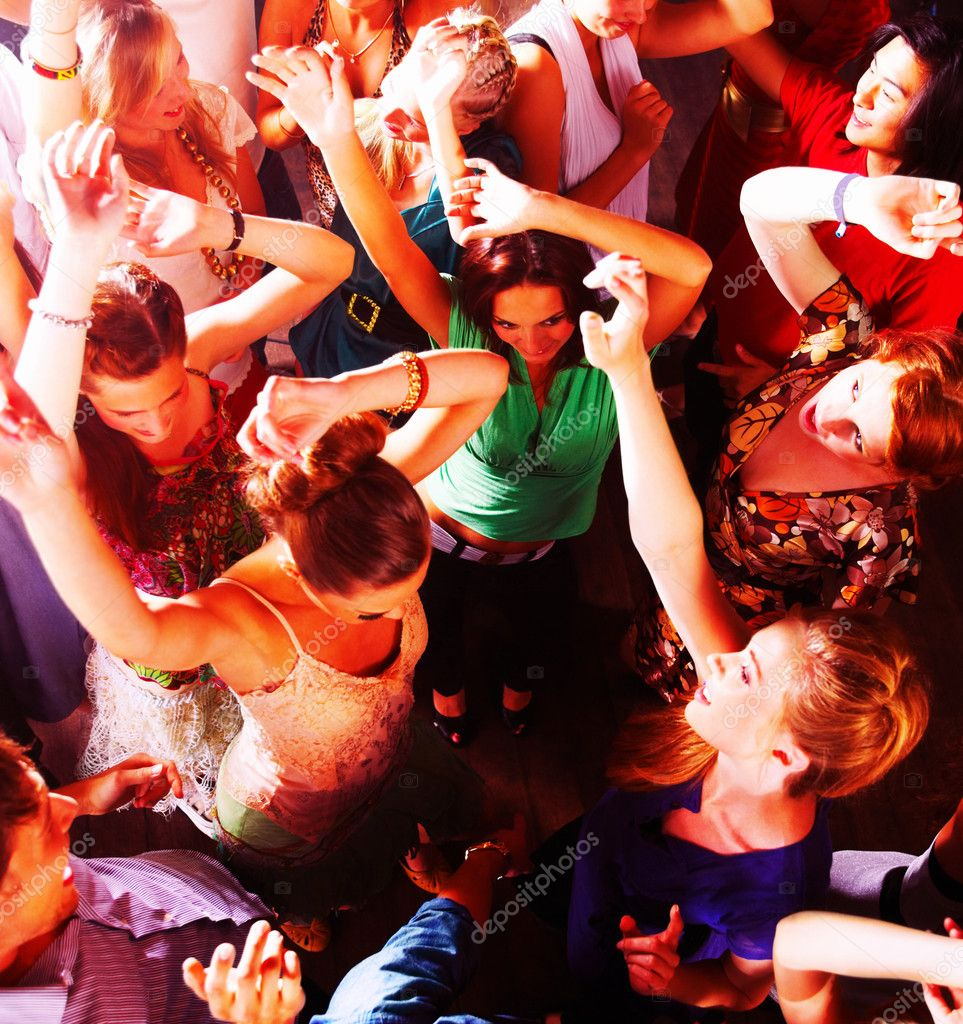Top view of a group of dancing in a bar or nightclub at a party — Stock Photo #3299314