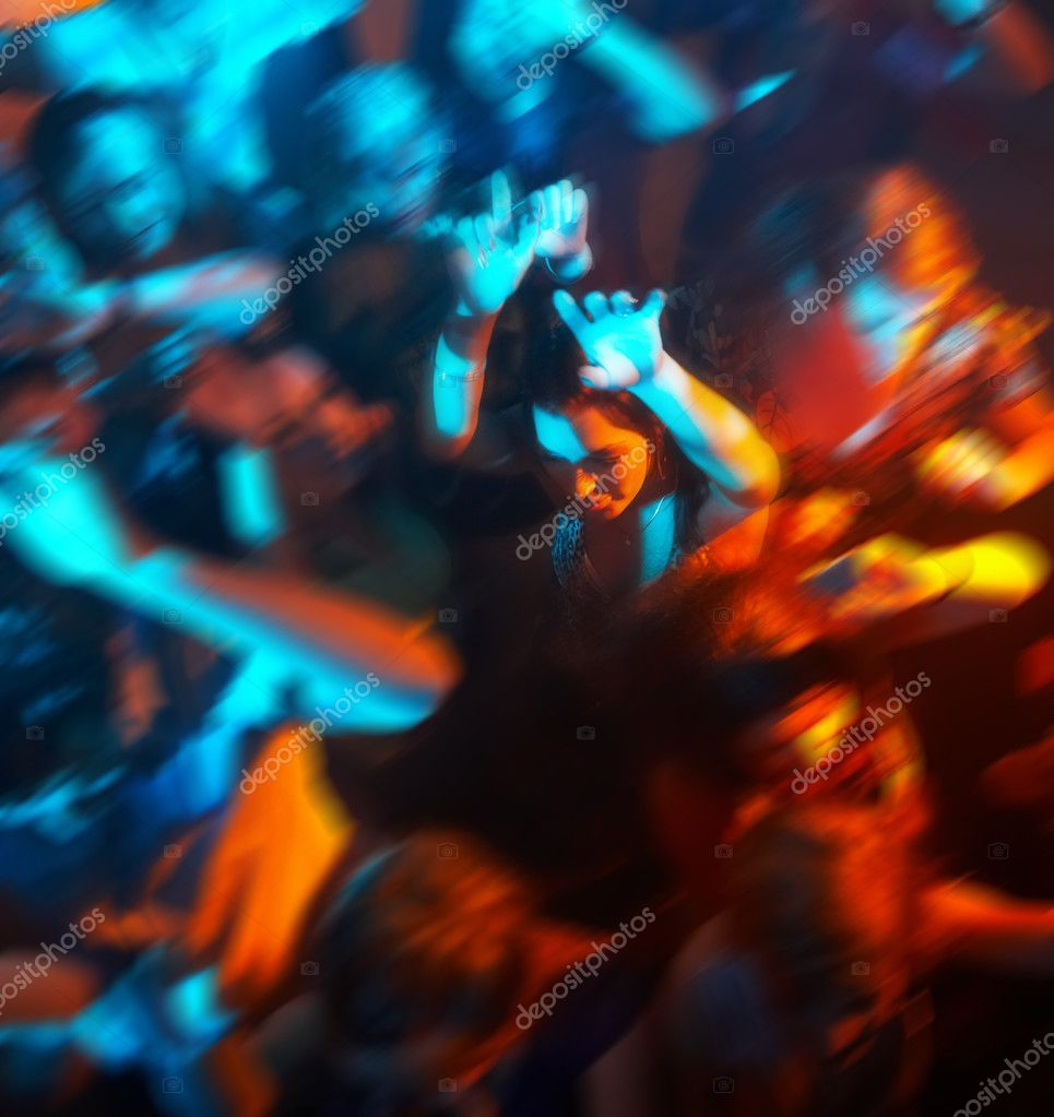 Group of dancing in a bar or nightclub at a party  Stock Photo #3299325