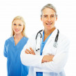 Royalty-Free Stock Photo: Confident doctor with hands folded and a female colleague at the