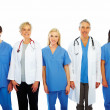 Royalty-Free Stock Photo: Doctors and nurses standing in a line over white background
