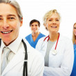 Royalty-Free Stock Photo: Group of hospital staff standing together on white background