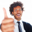 Royalty-Free Stock Photo: Happy young business man showing the success sign isolated on wh
