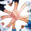 Group of with their hands together - Stockfoto