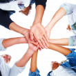 Group of with their hands together - Stock Photo