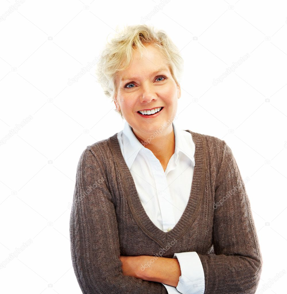 Portrait of a happy old woman with her hands folded on white background — Stock Photo #3300167
