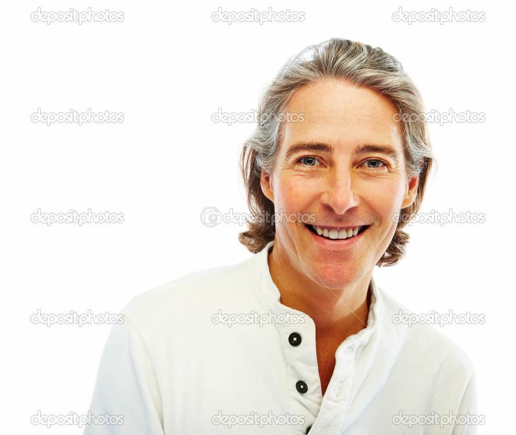 Portrait of a happy old man with her hands folded on white background — Stock Photo #3300169
