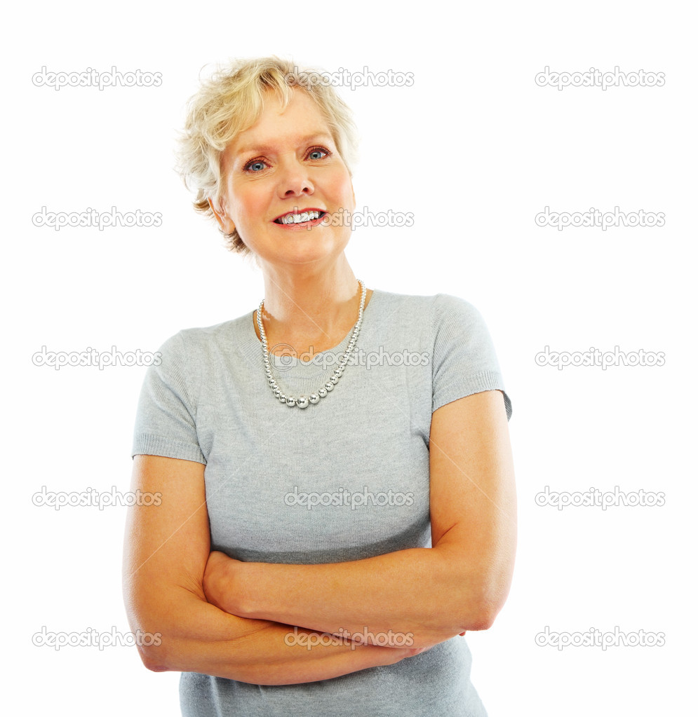 Portrait of a happy old woman with her hands folded isolated over white background  Stock Photo #3300174
