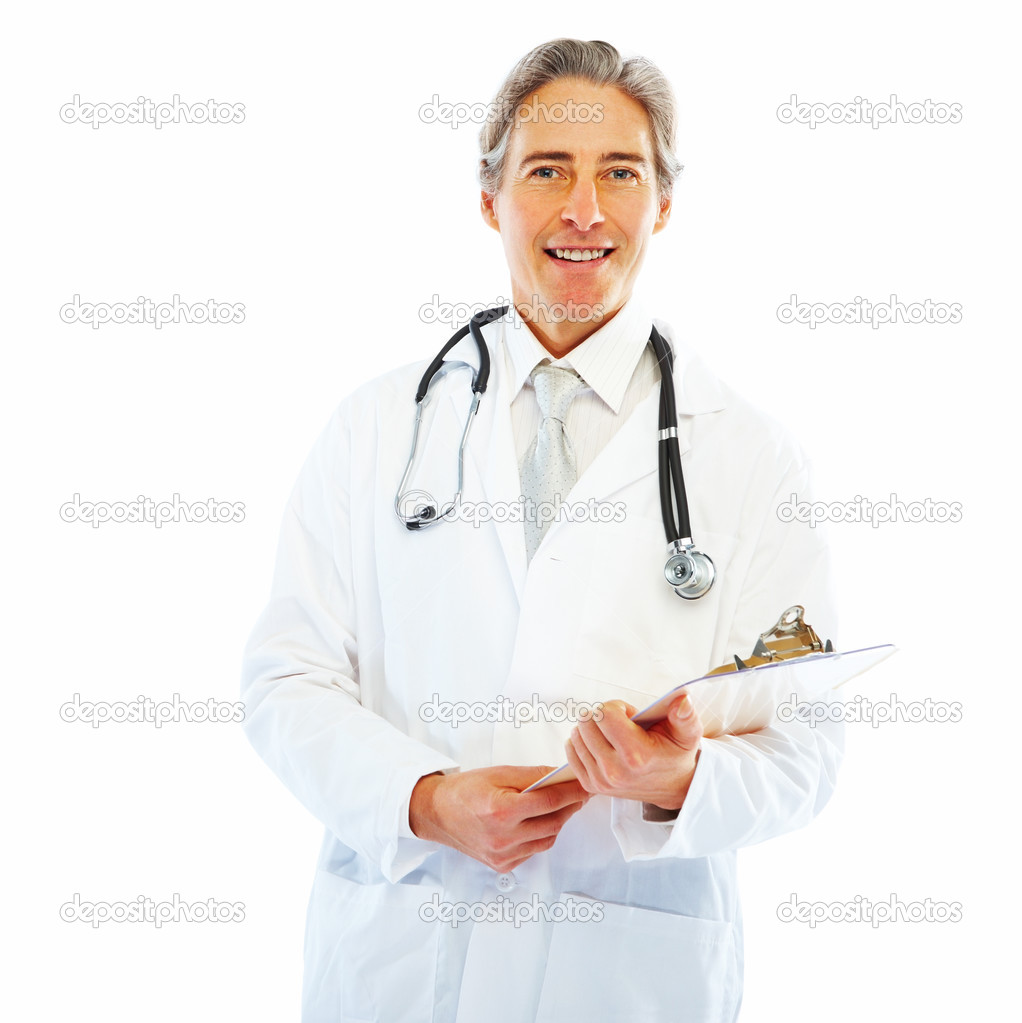 Portrait of a happy old doctor holding a writing pad on white background  Stock Photo #3300218