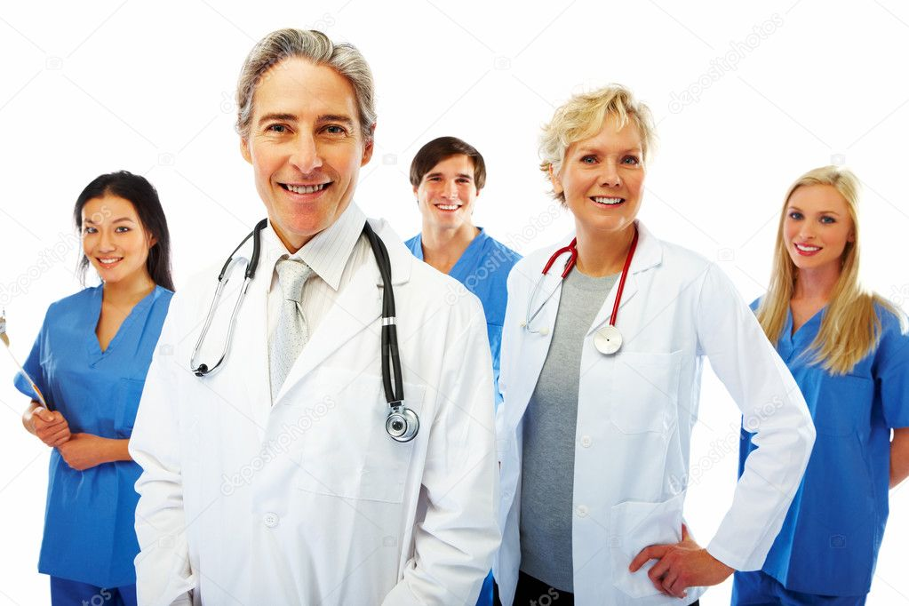 Portrait of group of smiling hospital colleagues standing together — Stock Photo #3300232